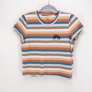 Madewell Embroidered Rainbow Stripe Tee